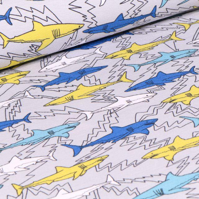 Tissu Jersey Coton Bio Shark sur fond Gris