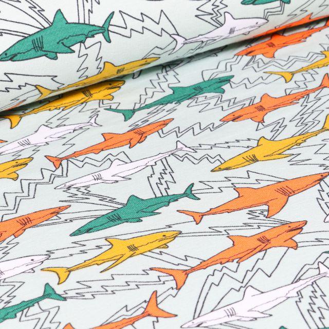 Tissu Jersey Coton Bio Shark sur fond Vert menthe clair