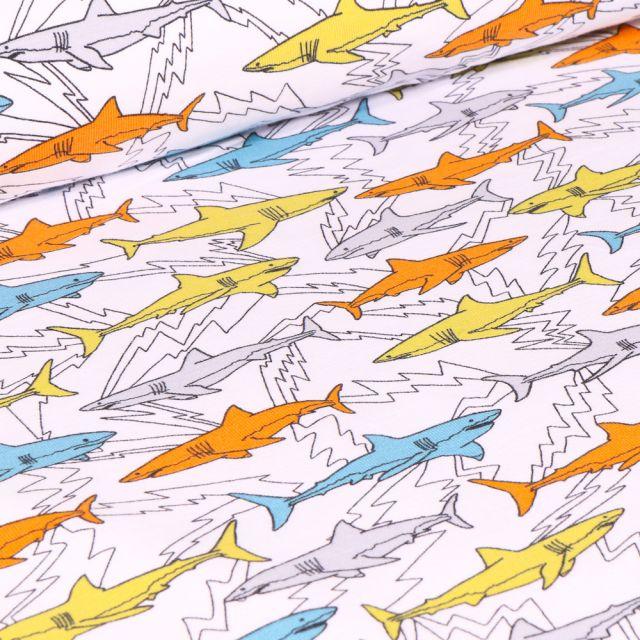 Tissu Jersey Coton Bio Shark sur fond Blanc