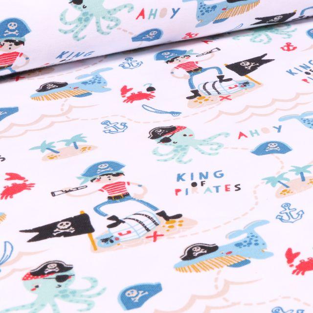 Tissu Jersey Coton Bio Pirates et animaux marins sur fond Blanc