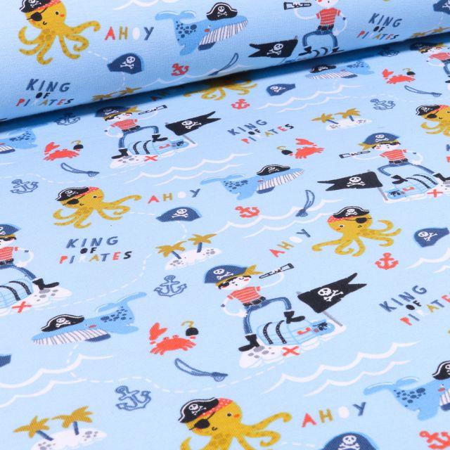 Tissu Jersey Coton Bio Pirates et animaux marins sur fond Bleu