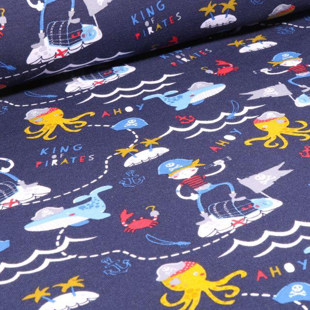 Tissu Jersey Coton Bio Pirates et animaux marins sur fond Bleu marine