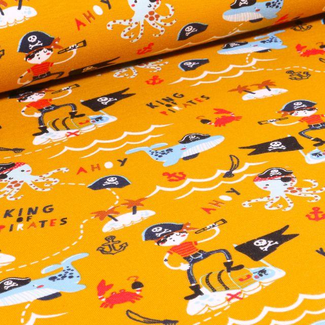 Tissu Jersey Coton Bio Pirates et animaux marins sur fond Jaune