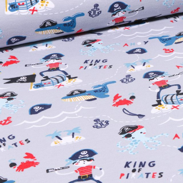 Tissu Jersey Coton Bio Pirates et animaux marins sur fond Gris