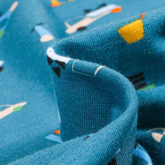 Tissu Jersey Coton Bio Transports sur fond Bleu