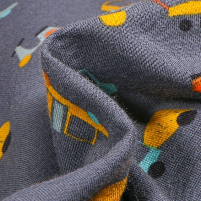 Tissu Jersey Coton Bio Transports sur fond Gris