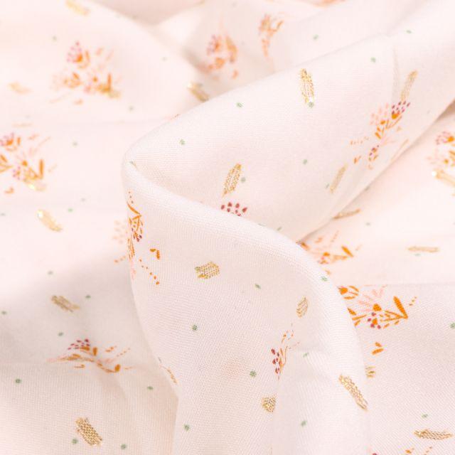 Tissu Viscose lurex Rosie sur fond Blanc