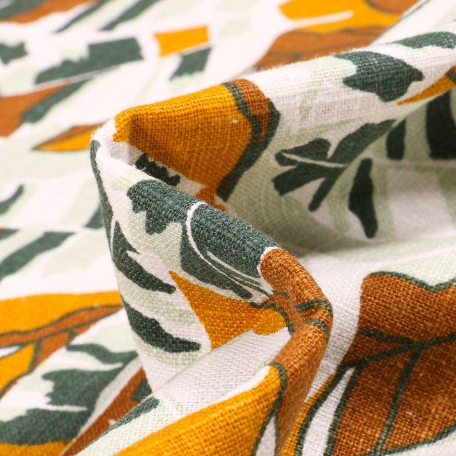 Tissu Lin Feuilles colorées ocre sur fond Blanc
