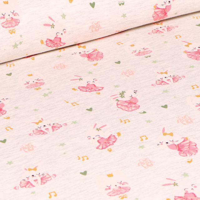 Tissu Jersey coton Lapinou sur fond Beige chiné