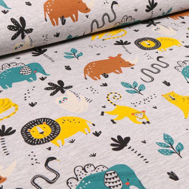 Tissu Jersey Polycoton Animaux de la jungle sur fond Gris clair chiné