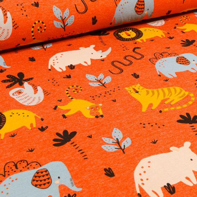Tissu Jersey Polycoton Animaux de la jungle sur fond Orange