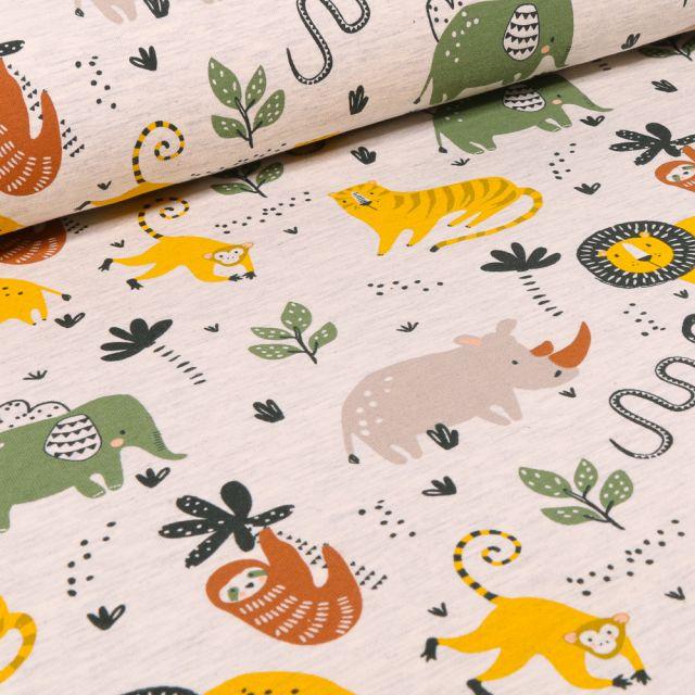 Tissu Jersey Polycoton Animaux de la jungle sur fond Beige chiné