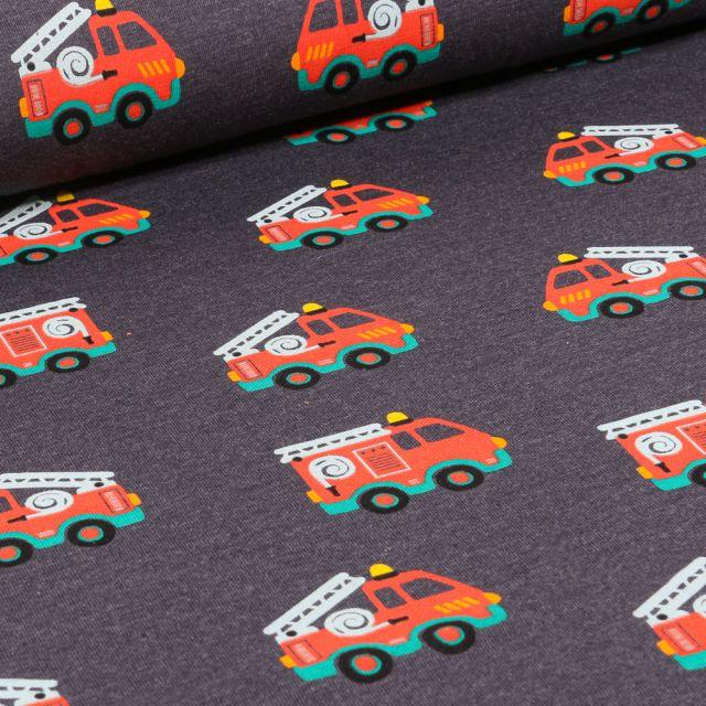 Tissu Jersey Polycoton Camions de pompiers sur fond Gris anthracite chiné