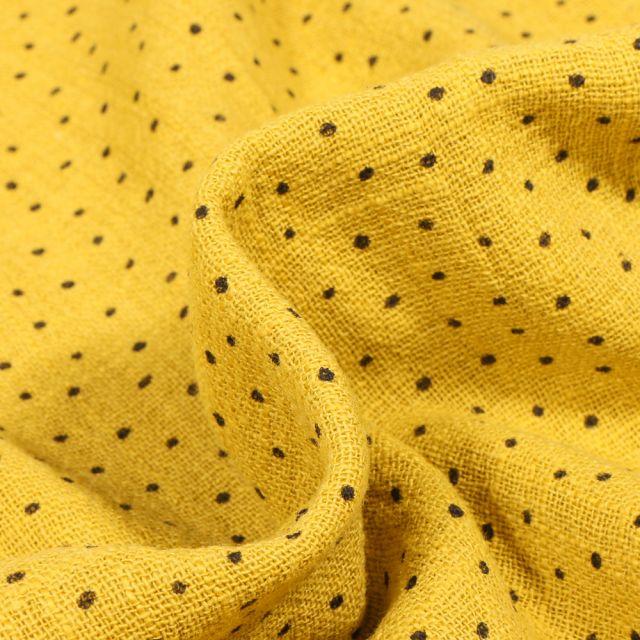 Tissu Coton lavé Petits pois noir sur fond Jaune