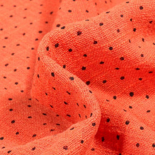 Tissu Coton lavé Petits pois noir sur fond Orange