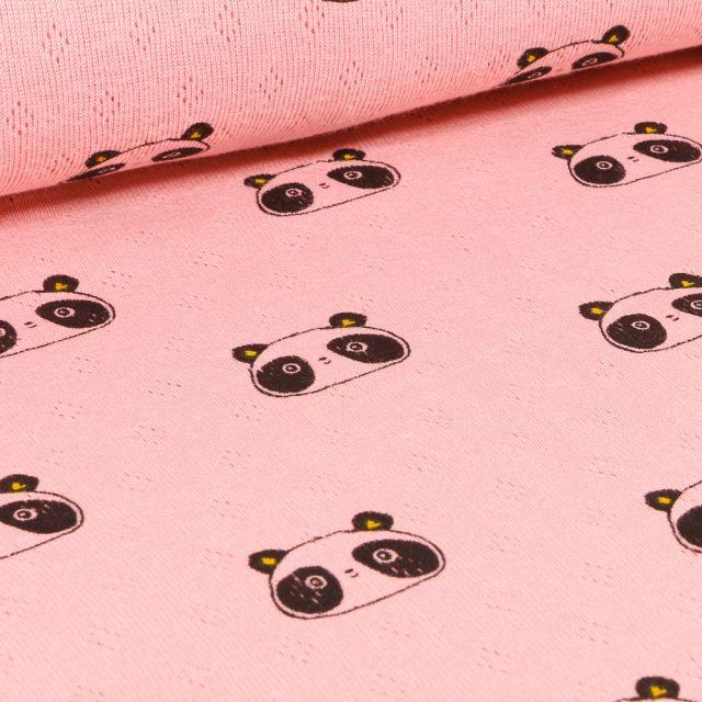 Tissu Jersey ajouré  Têtes de Pandas sur fond Rose