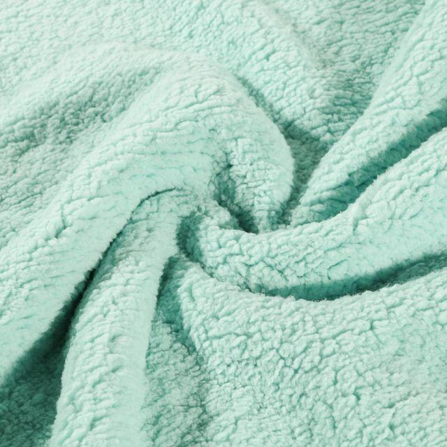 Fausse fourrure mouton Vert menthe - Par 10 cm