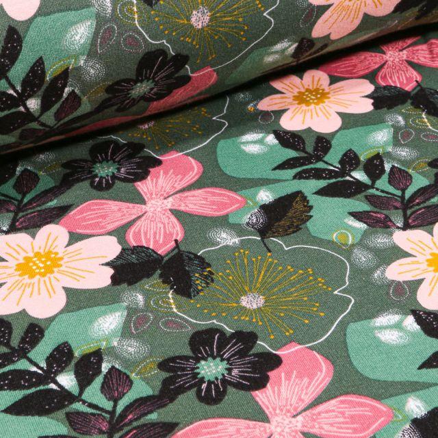 Tissu Jersey Coton envers molletonné Bio Grandes fleurs colorés sur fond Vert foncé