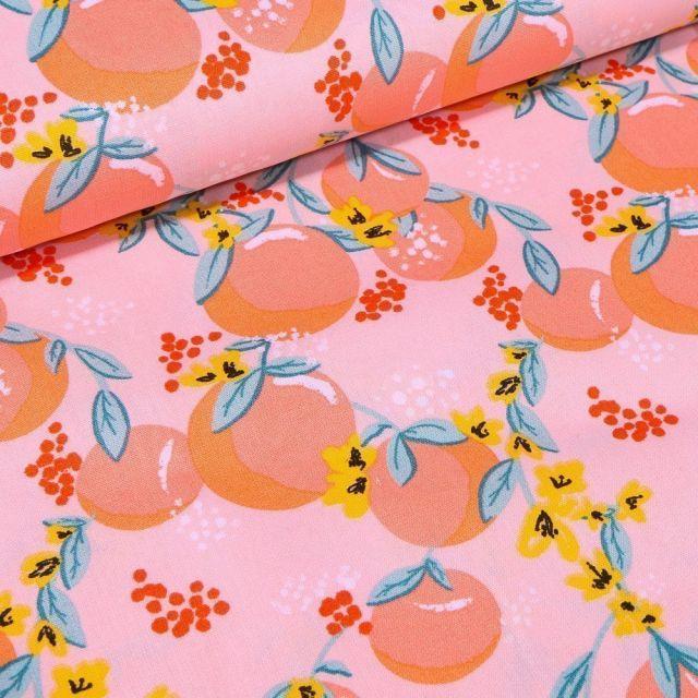 Tissu Coton imprimé LittleBird Peachy sur fond Rose - Par 10 cm