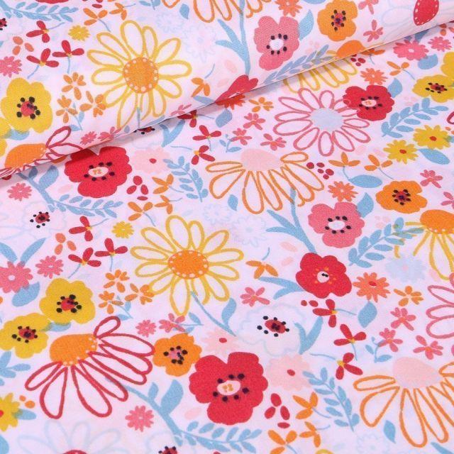Tissu Coton imprimé LittleBird Fleurs des prés sur fond Blanc - Par 10 cm