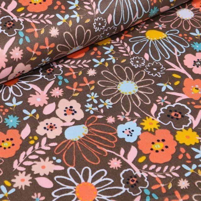 Tissu Coton imprimé LittleBird Fleurs des prés sur fond Taupe - Par 10 cm