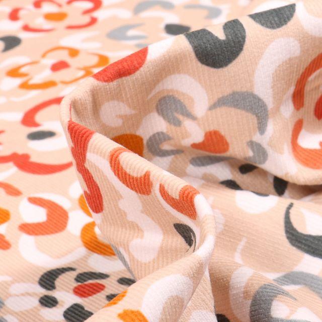 Tissu Velours milleraies Fleurs colorées sur fond Beige