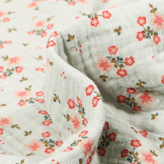 Tissu Double gaze Bio Bouquets de fleurs sur fond Vert menthe clair