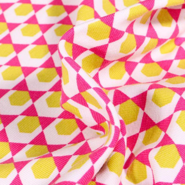 Tissu Jersey Coton Bio Hexagone jaune sur fond Rose fuchsia