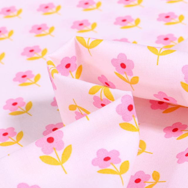 Tissu Coton imprimé LittleBird Flowers sur fond Rose