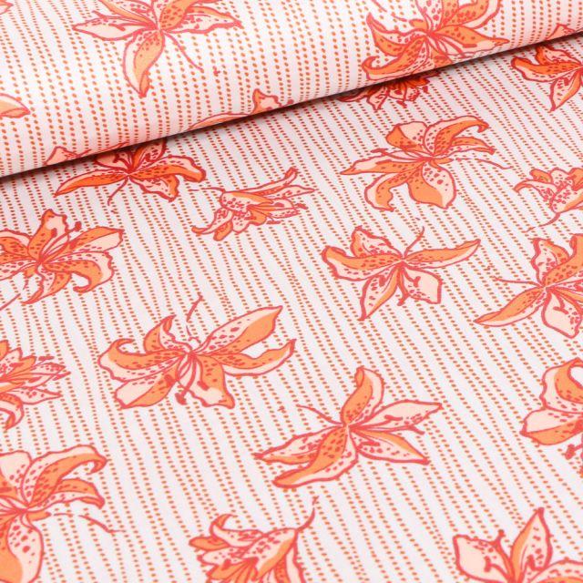 Tissu Satin Fleurs et rayures orange sur fond Blanc