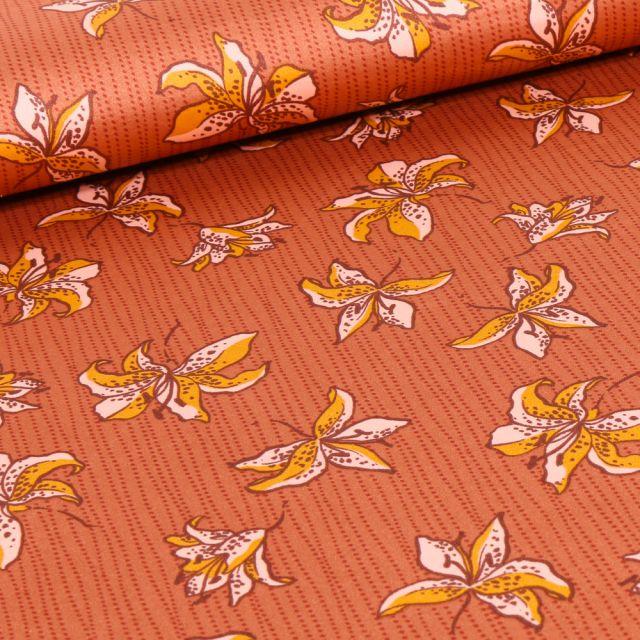 Tissu Satin Fleurs et rayures jaune sur fond Orange