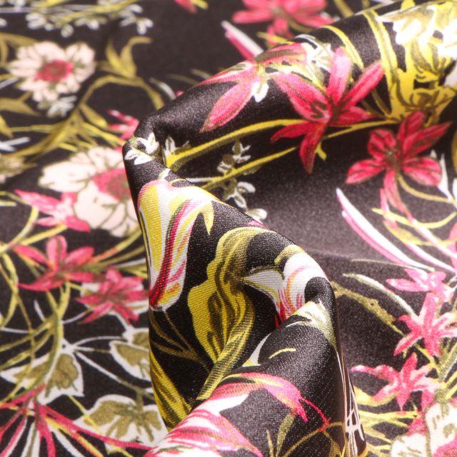 Tissu Satin Stretch Fleurs et feuillages sur fond Noir