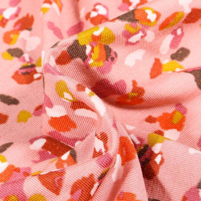 Tissu Jersey Modal Taches colorées abstraites sur fond Rose