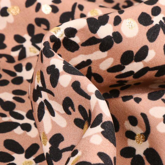 Tissu Crêpe imprimé Fleurs et pois dorés sur fond Beige