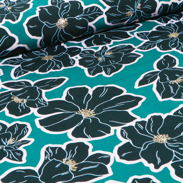 Tissu Crêpe imprimé Grandes fleurs bleu marine sur fond Vert émeraude