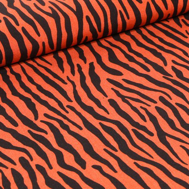 Tissu Viscose Zébré sur fond Orange