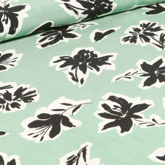 Tissu Viscose Bouquets de fleurs noires sur fond Vert menthe