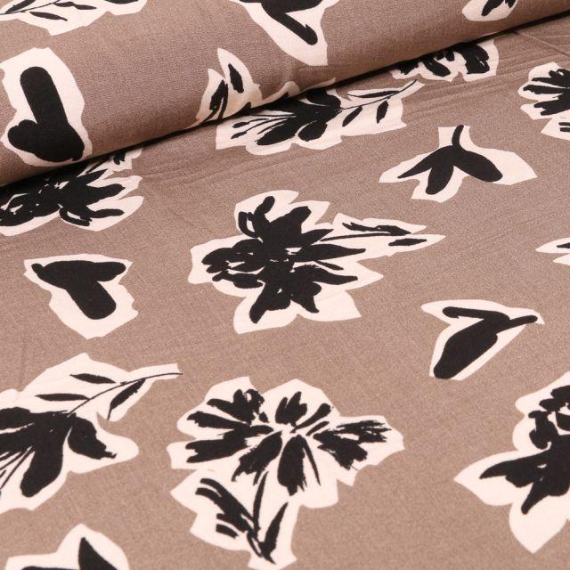 Tissu Viscose Bouquets de fleurs noires sur fond Taupe
