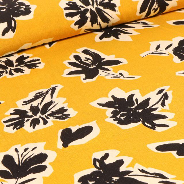 Tissu Viscose Bouquets de fleurs noires sur fond Jaune