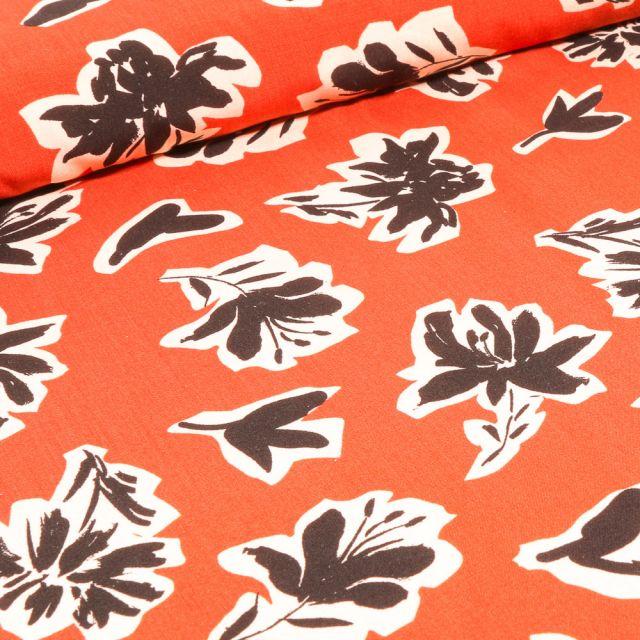 Tissu Viscose Bouquets de fleurs noires sur fond Orange