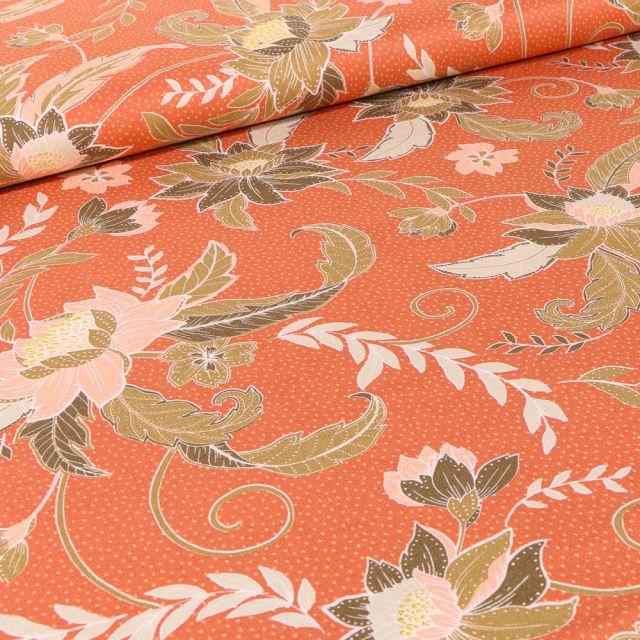 Tissu Viscose Rania sur fond Orange