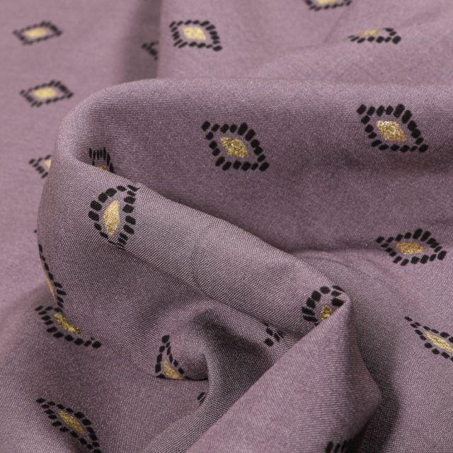 Tissu Viscose Losanges ethniques dorés sur fond Violet