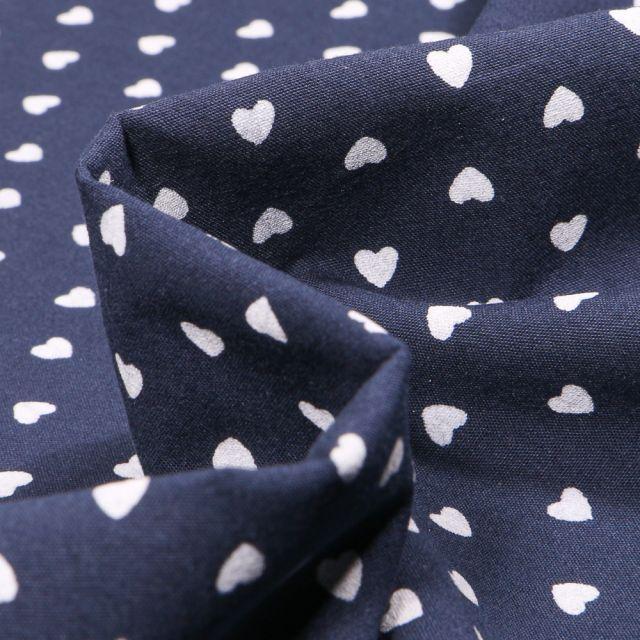 Tissu Coton lavé Cœur 0.5 cm sur fond Bleu marine