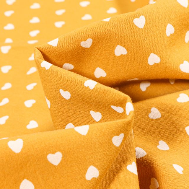 Tissu Coton lavé Cœur 0.5 cm sur fond Jaune