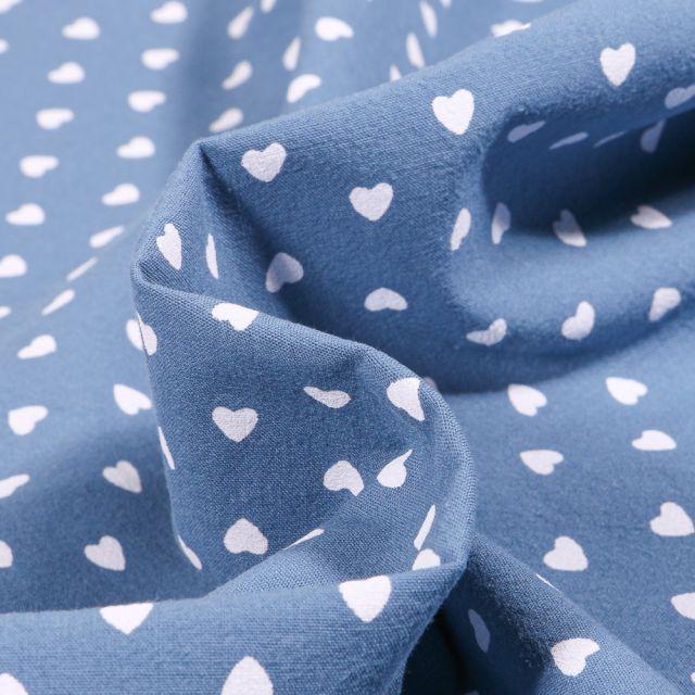 Tissu Coton lavé Cœur 0.5 cm sur fond Bleu