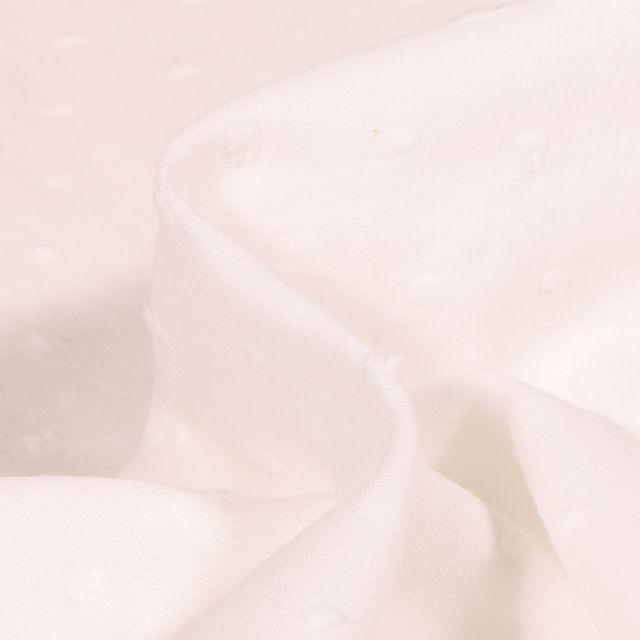 Tissu Voile de coton Plumetis Ecru