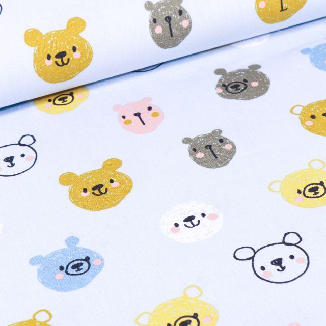 Tissu Coton imprimé LittleBird Têtes d'ours sur fond Bleu ciel