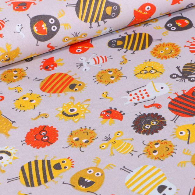 Tissu Coton imprimé LittleBird Montres rigolo sur fond Gris clair