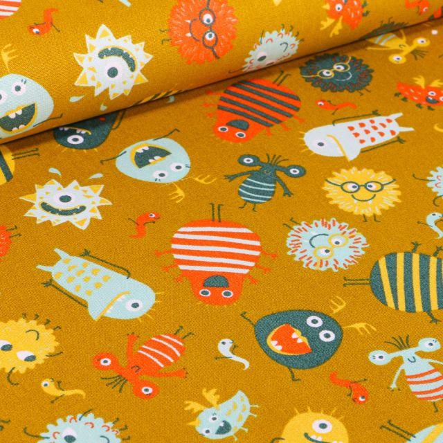 Tissu Coton imprimé LittleBird Montres rigolo sur fond Jaune moutarde
