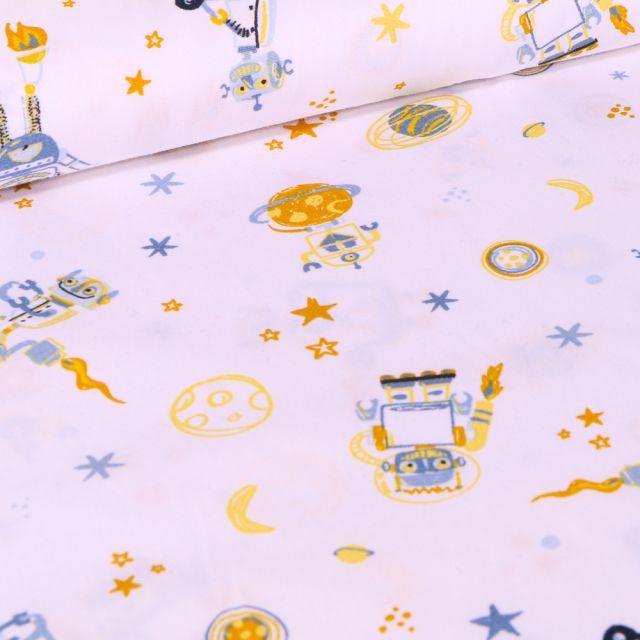 Tissu Coton imprimé LittleBird Robot et planètes sur fond Blanc